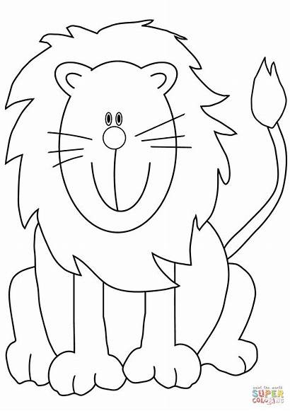 Lion Coloring Cartoon Lions Pages Lovely Printable
