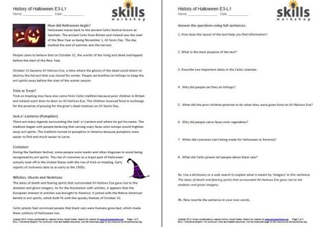 history  halloween differentiated reading comprehension