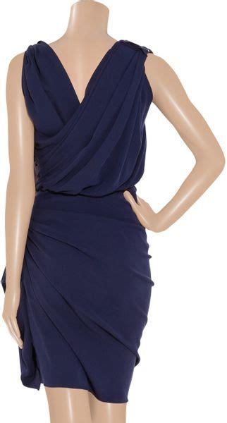 Lanvin Draped Dress - lanvin silk draped dress in blue indigo lyst