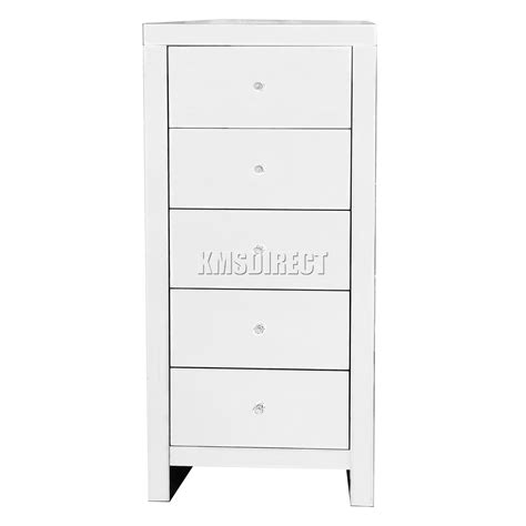mirrored 5 drawer chest foxhunter mirrored furniture glass 5 drawers tallboy chest 7532