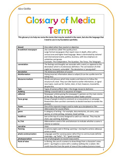 page terms glossary of media terms