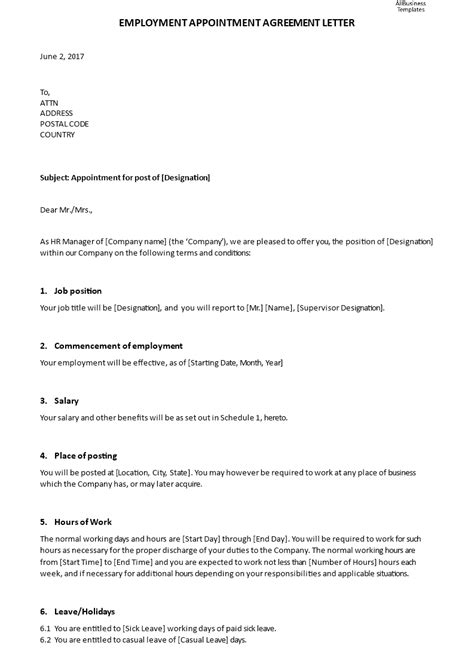 employment appointment agreement letter templates