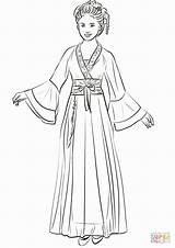 Chinese Traditional Coloring Printable Wearing Hanfu Drawing Sheets Kvinde Sketch China Template Kinesisk Cinese Sketches Croquis Vetements Princess Supercoloring Disegno sketch template