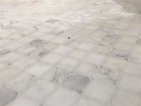 carrera marble arabesque mosaic tile bathroom floor