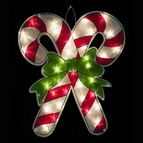 lighted candy cane window display