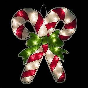 Lighted, Candy, Cane, Window, Display
