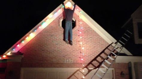 guy falling  ladder fail christmas decoration youtube