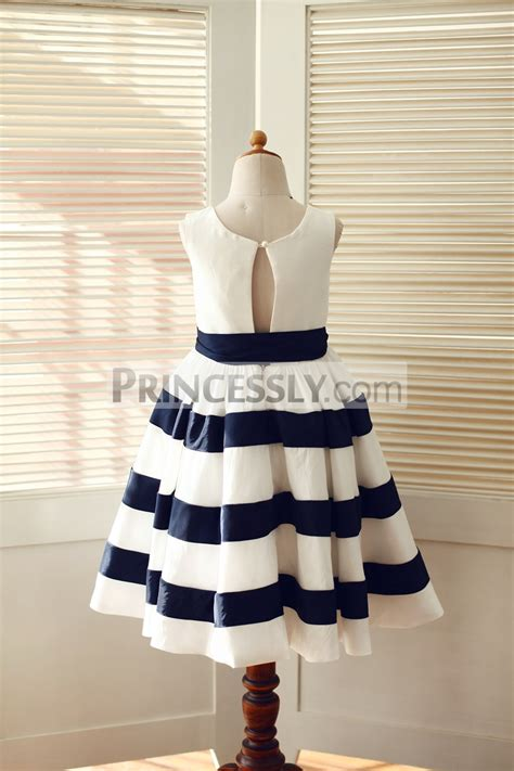 ivory navy blue taffeta stripe wedding flower girl dress