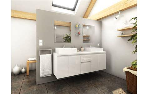 meuble de salle de bain blanc 4 portes 2 tiroirs 2 vasques 2 miroirs