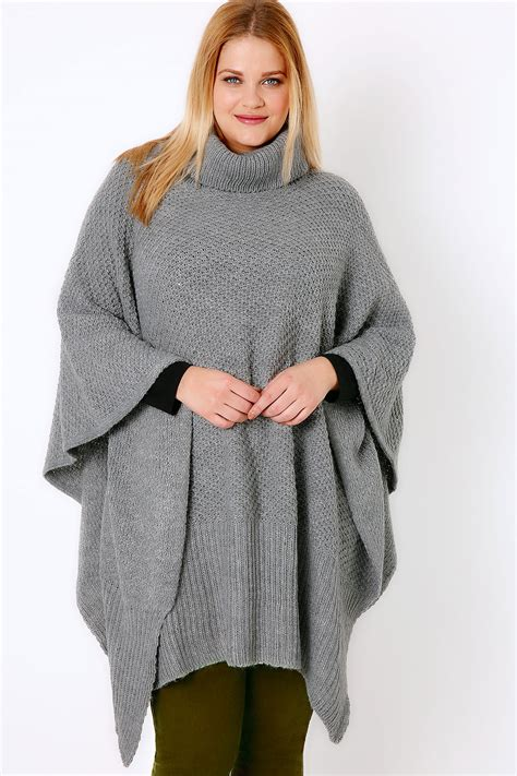 grey knitted cowl neck poncho one size