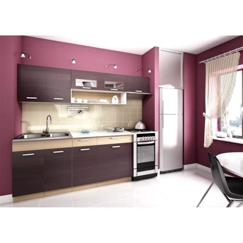 kit de cuisine topaze noyer 2m40 6 meubles kit cuisine mod achat