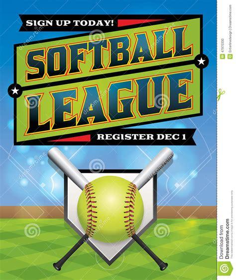 Softball League Registration Illustration Stock Vector