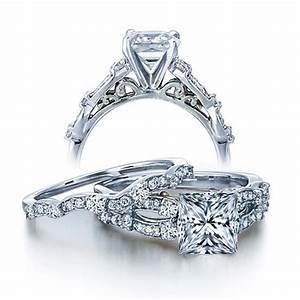 1 carat vintage princess diamond wedding ring set for her for White gold wedding ring sets for her