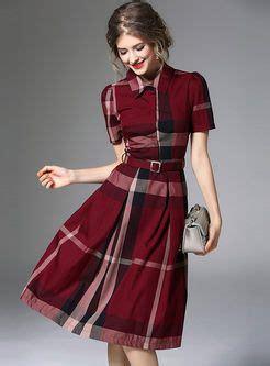hit color plaid   dress  belt dresses fashion