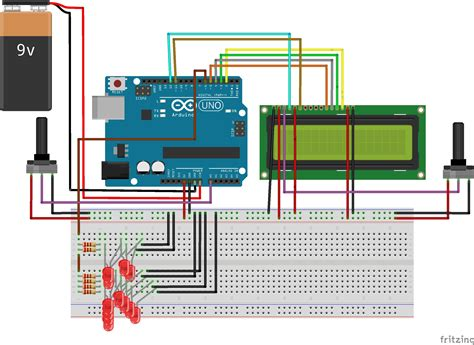 lcd wiring a potentiometer to control a 9v battery
