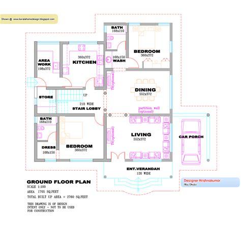 kerala villa design plan  elevation  sqfeet home appliance
