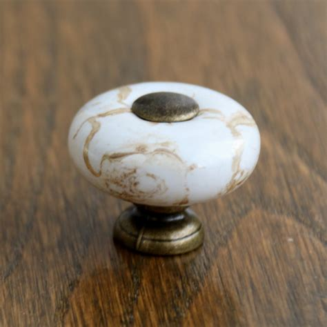 porcelain knobs for kitchen cabinets aliexpress buy antique brass marble porcelain drawer 7542