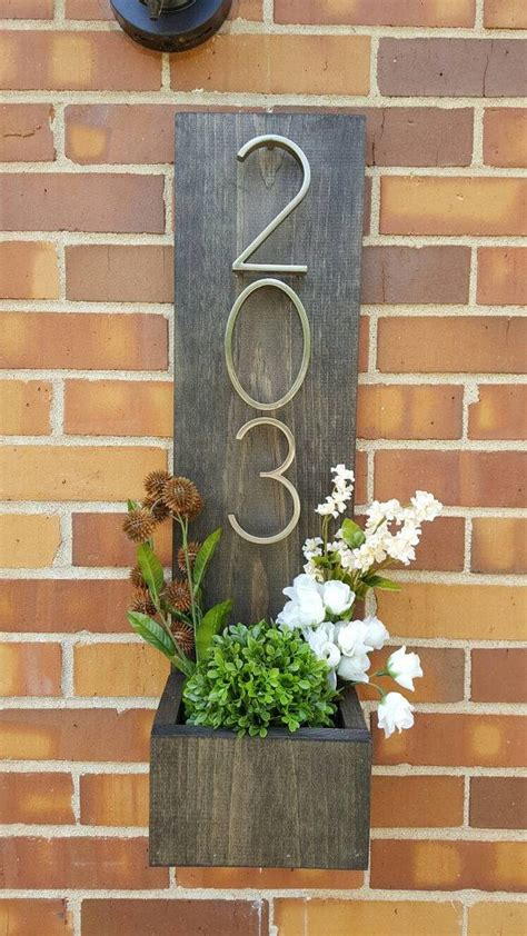 rustic address planter address sign house numbers sign