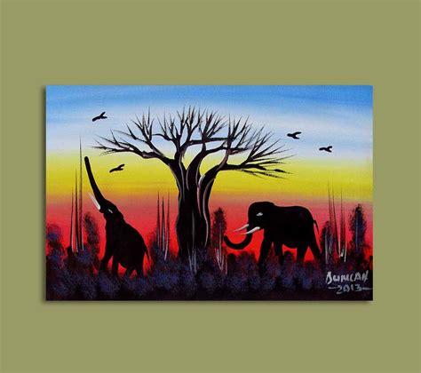 african art african art miniature originals elephants