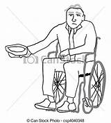 Poverty Disabled Begging Senior Stricken Wheelchair Money Vector Clip Drawings Clipart Drawing Illustration Shutterstock Illustrations Line Graphic Canstockphoto sketch template