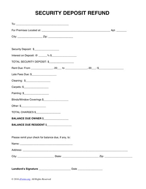 free security deposit return letter template word pdf