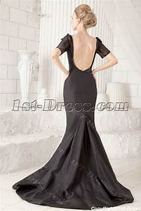 Black open back sexy wedding dress with short sleeves1st for Sexy black wedding dress
