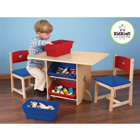 kidkraft star table chair set with primary bins
