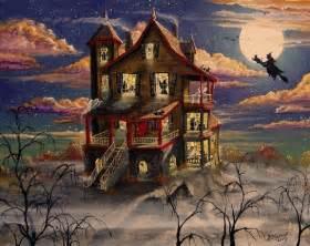 Folk Art Halloween Haunted House