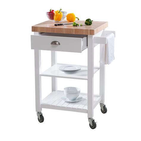 kitchen island cart home depot hton bay bedford white kitchen cart with butcher block 8153