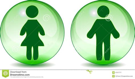 man woman toilet signs  green glass globe royalty