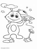 Coloring Pages Alien Printable Earth Space Print Boys sketch template