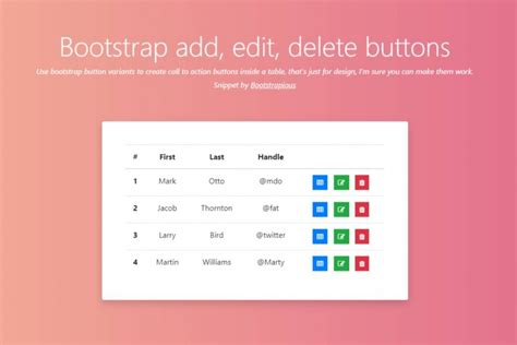 bootstrap add edit  delete buttons  bootstrap
