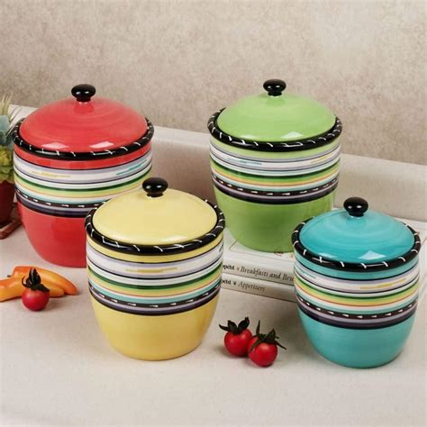 white ceramic kitchen canisters kitchen stripes colorful canister set choosing the best