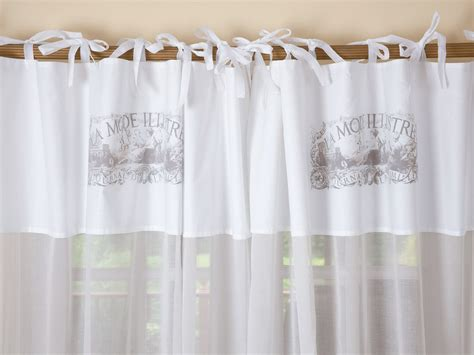 White Cotton Tie Top Curtains
