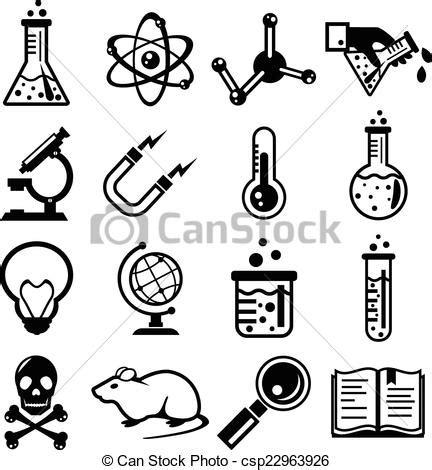ciencia quimica negro icono ciencia conjunto negro