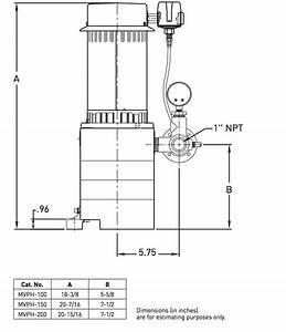 Myers Mvph Series Vertical Deep Well Jet Pumps Dimension