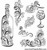 Wine Bottle Glass Coloring Pages Vector Wineglass Elements Adults Tattoo Grapes Wood Food Grape Coffee Grapevines Print Patterns Adult Colouring sketch template