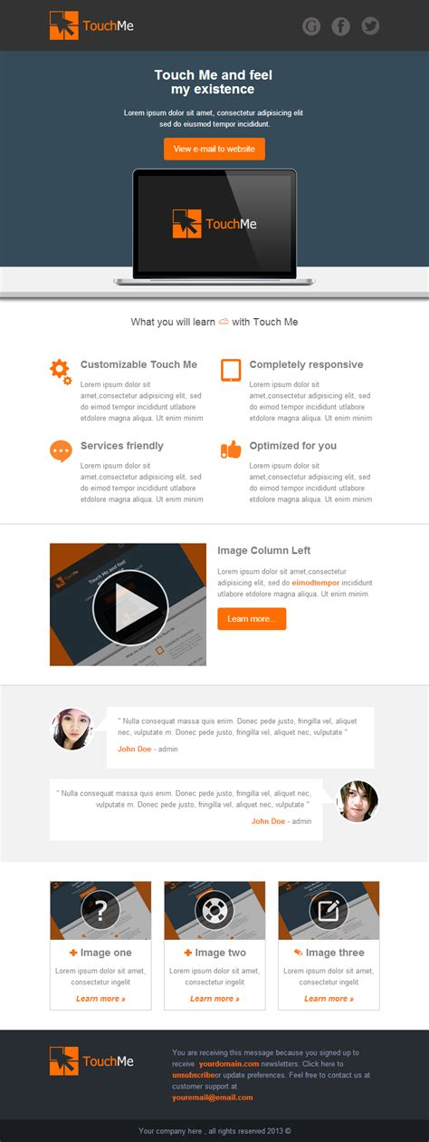 touch me responsive email templates by akedodee