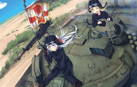 wallpaper gun weapon war anime flag tank japanese