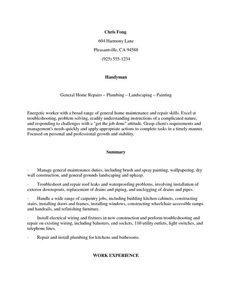 Word Resume Exles by Sle Cover Letter For Carpenter Collections Photos