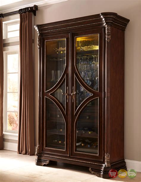 Cabinets Furniture by Gables Antique Cherry Wine Cabinet With Distressed Mirror Back