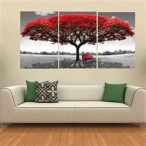 Toile Deco Salon : king do way set de 3 parties grand arbre rouge impressions sur toile murale image peinture ~ Teatrodelosmanantiales.com Idées de Décoration