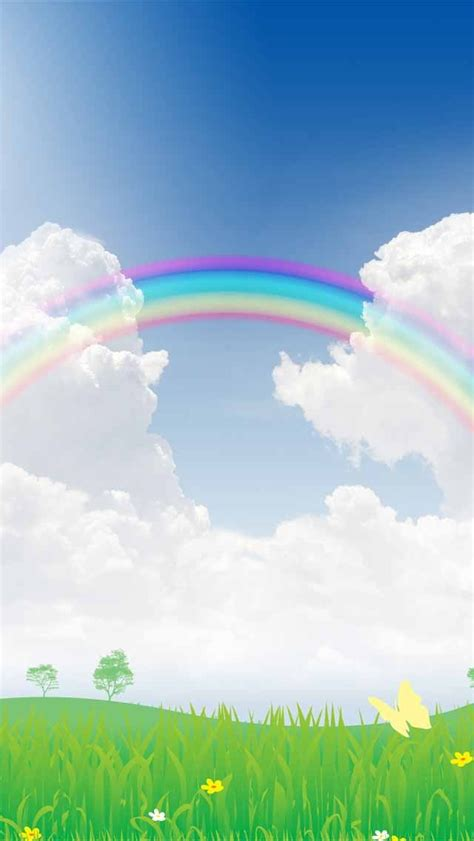 rainbow clouds scenery background clipart