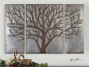 Quot set of three brown tree silver leaf wall art panels