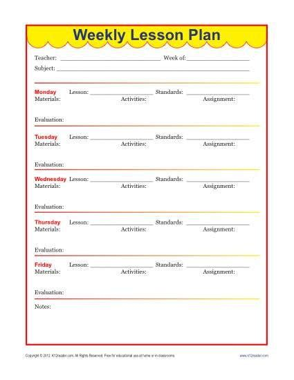 weekly detailed lesson plan template elementary weekly
