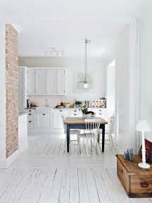 decordots white kitchen and brick wall
