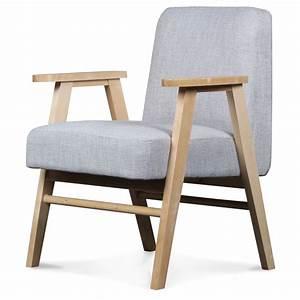 Fauteuil Jardin Bois : fauteuil design scandinave tissu tweed gris perle javiik demeure et jardin ~ Teatrodelosmanantiales.com Idées de Décoration
