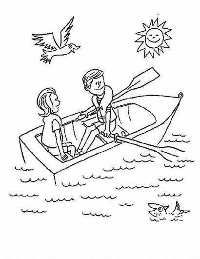 Row Boat Coloring Clipart Colouring Pages Boating