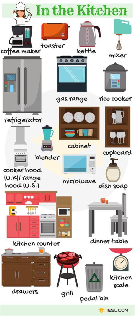 kitchen vocabulary  english eslbuzz learning