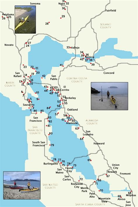 Paddle Boats Bay Area by Sf Bay Kayak And Canoe Put Ins And Boat Lanch Rs
